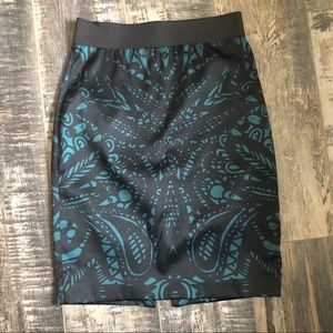 EXPRESS black and teal pencil skirt with band